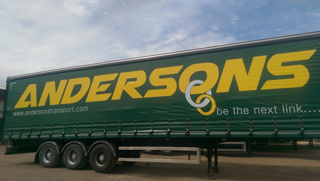 Andersons curtain Green sided trailer livery 2015
