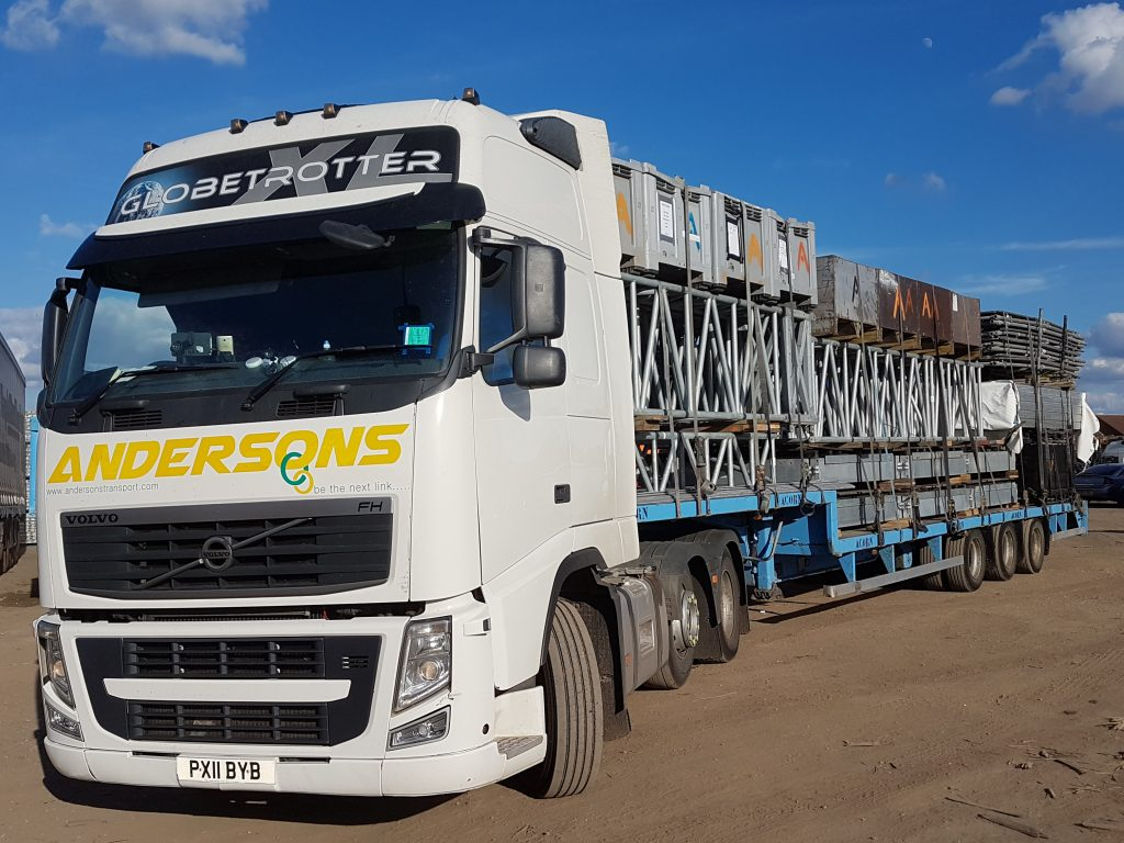 Andersons Lorry Loaded With Scaffolding from  a slight angle