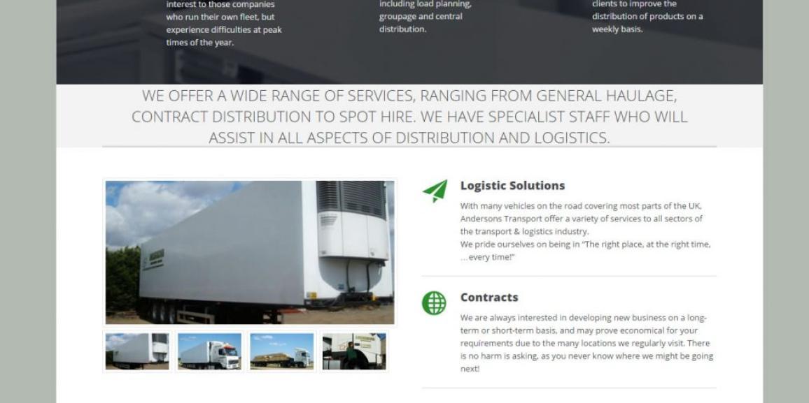 Andersons Transport Website Upgraded